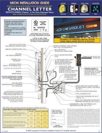 Neon installation guide guide to installing neon signs kerley 2 technical data sheets cheapraybanclubmaster Image collections